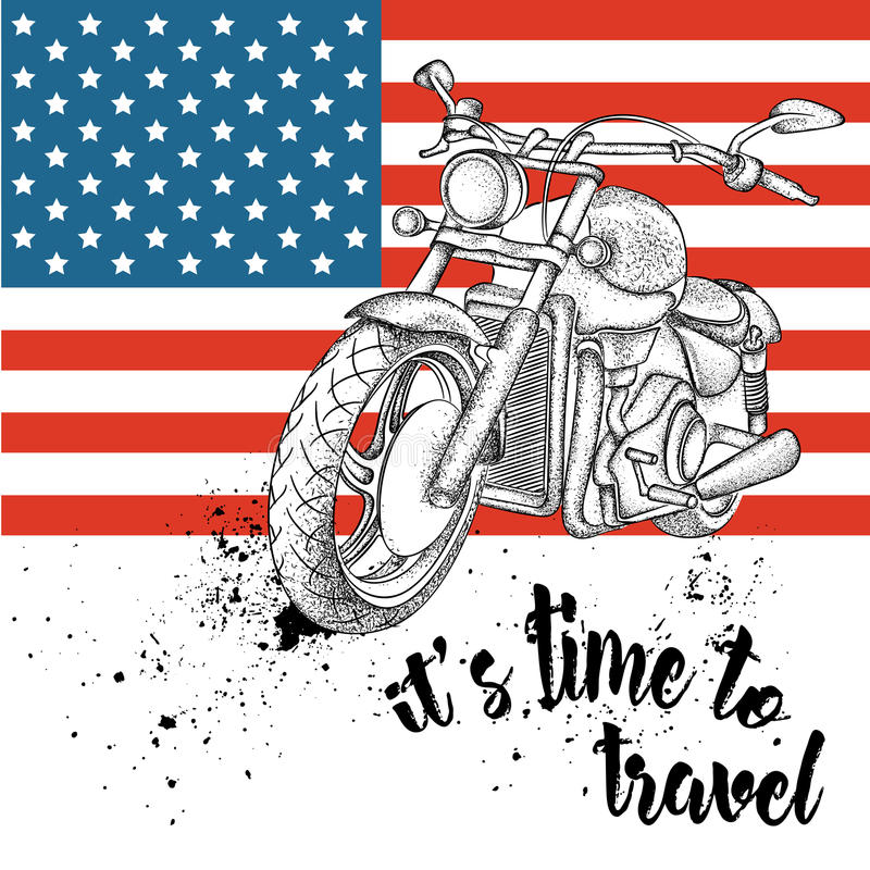 Hand drawn motorcycle on background. Print of USA flag. hand drawn vector illustration. Hand drawn motorcycle on background. Print of USA flag. hand drawn vector stock illustration