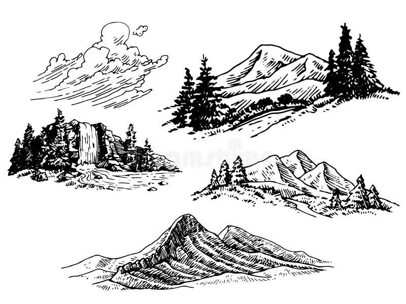 Hand-drawn Mountain Illustrations royalty free illustration