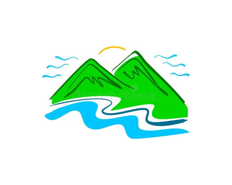 Hand drawn mountain logo vector illustration