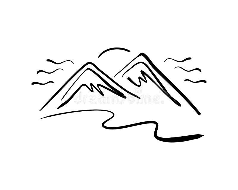 Hand drawn mountain logo royalty free illustration