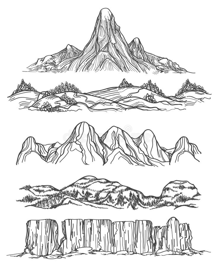 Hand drawn mountains and hills royalty free illustration
