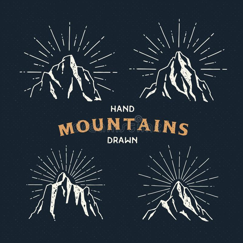 Hand Drawn mountains. Set of travel sketch illustration. stock illustration
