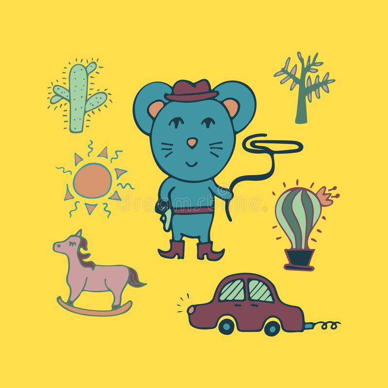 Hand-drawn mouse the cowboy with a lasso and in a hat vector illustration