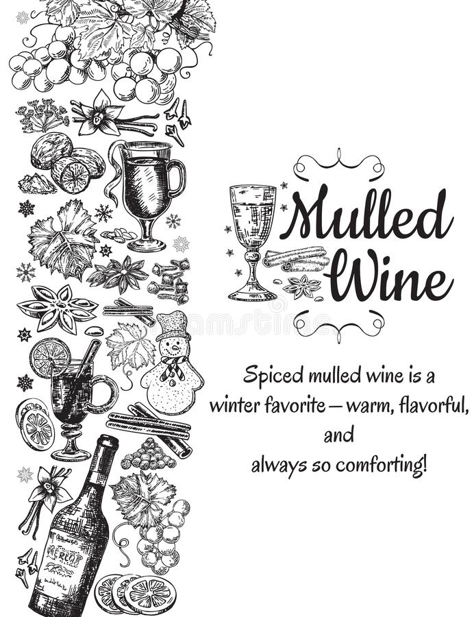 Download hand drawn mulled wine vector poster black and white sketch with wine glass
