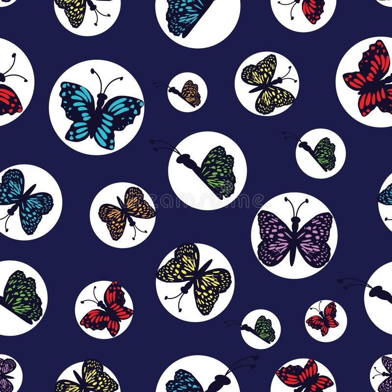 Hand drawn multi colored butterflies arranged in white circles on a dark blue background. Perfect for scrap booking , fashion and home decor projects. Surface stock illustration