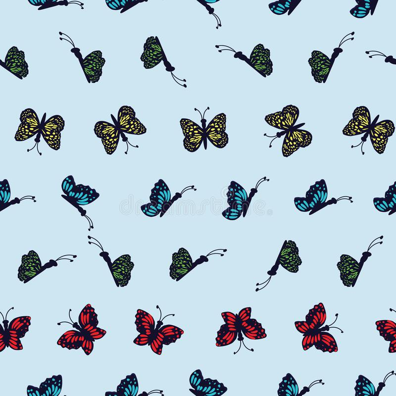 Hand drawn multi colored butterflies on a light blue background. Perfect for scrap booking , fashion and home decor projects. Surface pattern design vector illustration