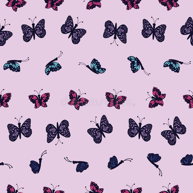 Hand drawn multi colored butterflies on a light purple background. Perfect for scrap booking , fashion and home decor projects. Surface pattern design royalty free illustration
