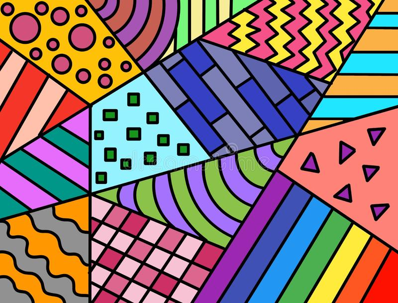 Hand drawn multicolored background, shapes, paint, art, geometric abstract, Handwritten. royalty free illustration
