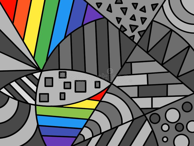 Hand drawn multicolored background, shapes, paint, art, geometric abstract, Handwritten. vector illustration