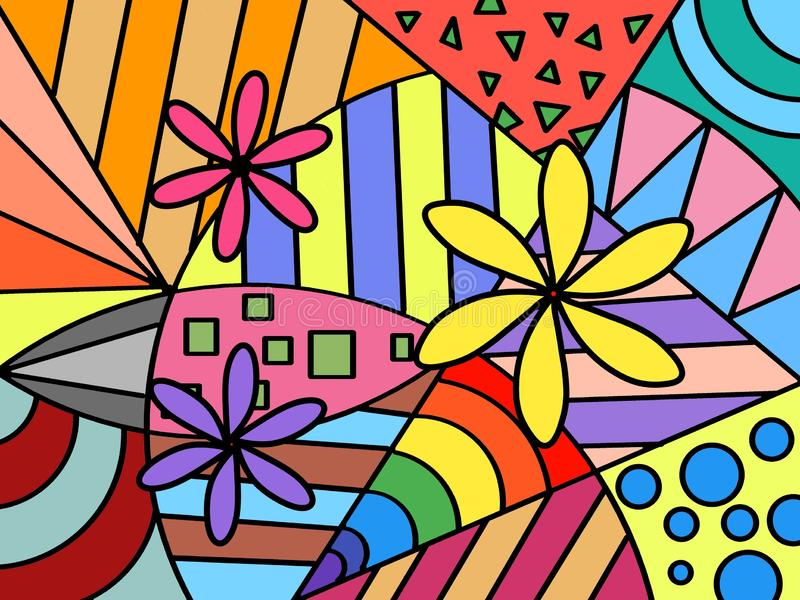 Hand drawn multicolored background, shapes, paint, art, geometric abstract, Handwritten. stock illustration