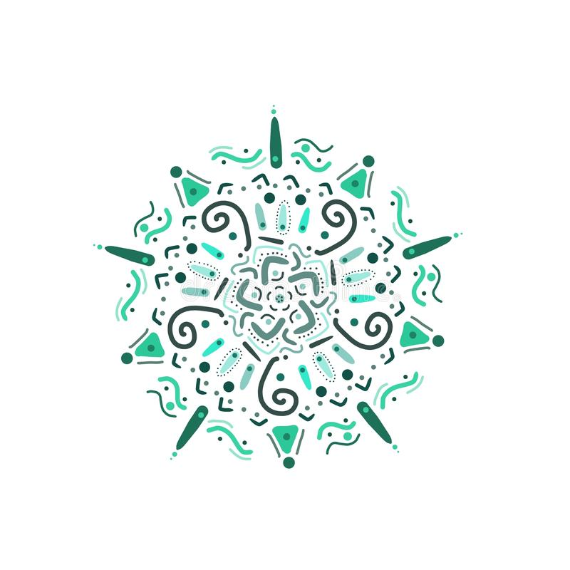 Hand drawn multicolour turquoise mandala symbol clipart isolated on white. Blue, green, icon, meditation, dots, indian, decoration, postcard, greeting, holiday vector illustration
