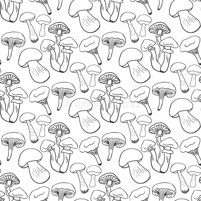 Hand drawn mushrooms seamless pattern. Doodle vector background with edible mushrooms. Healthy food royalty free illustration