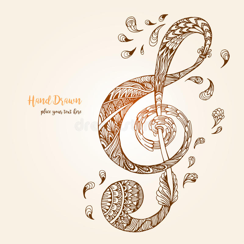 Hand-drawn music key with ethnic ornaments doodle pattern. Vector illustration Henna Mandala Zentangle stylized for Cover book or card, tattoo more. Design for vector illustration