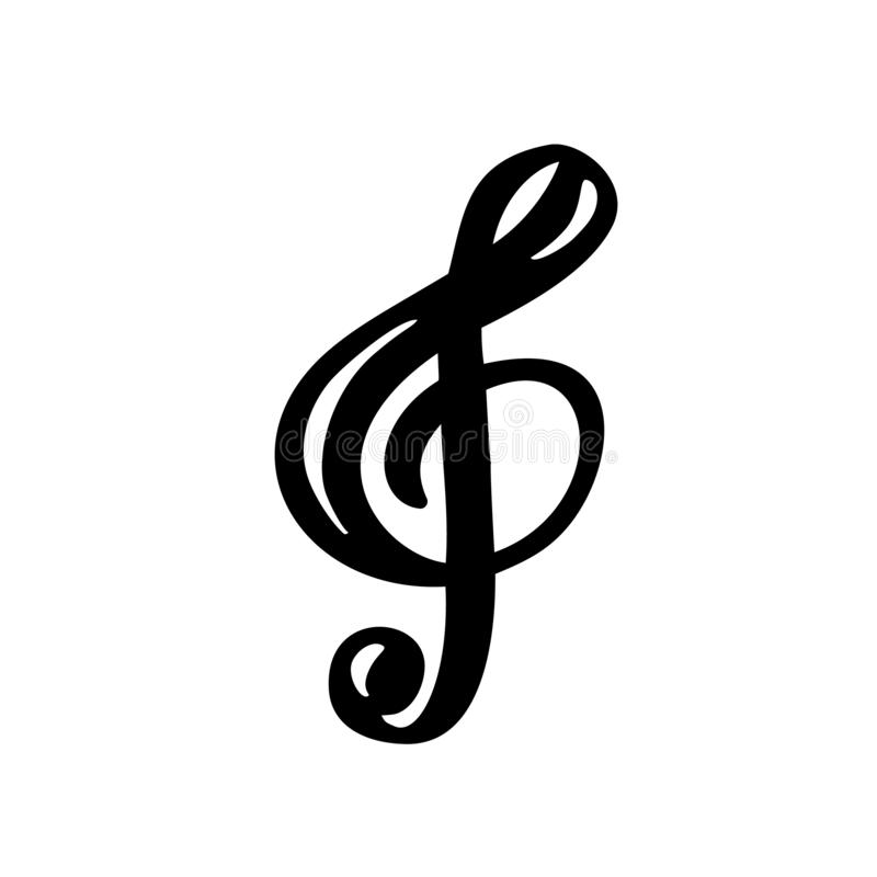 Hand drawn Music key logo and icon vector Illustration. Musical theme flat design template. Isolated on the white background.  stock illustration