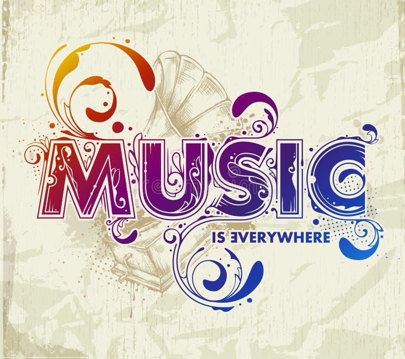 Hand drawn music lettering stock illustration