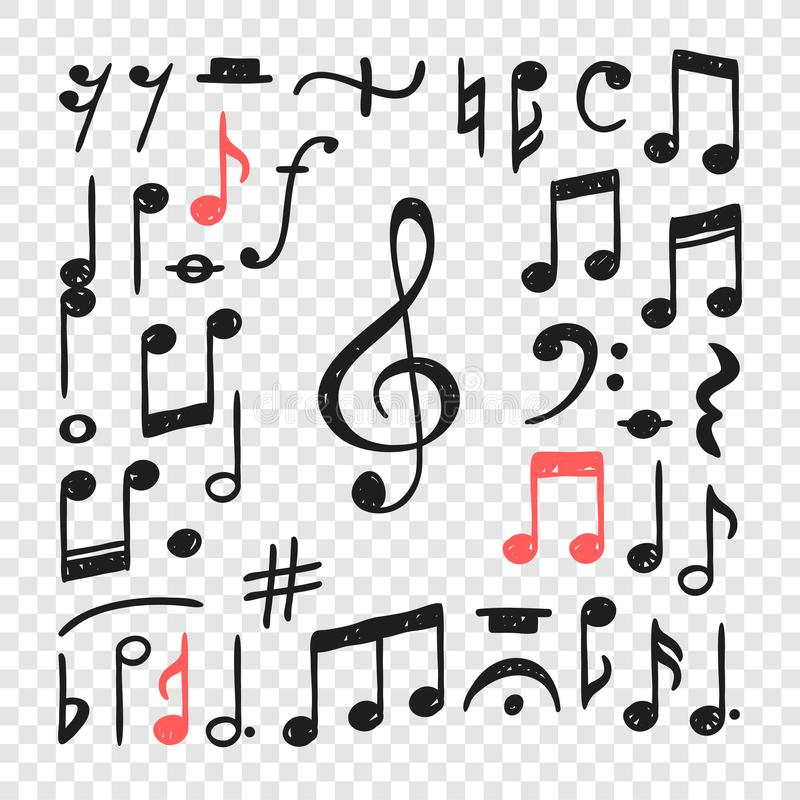 Free Hand Drawn Music Notes Illustration. Doodle Set Of Symbols. Creative Ink Art Work. Actual Vector Drawing Stock Image - 129563201