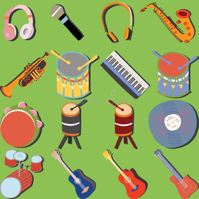 Hand drawn musical instruments icon set stock illustration
