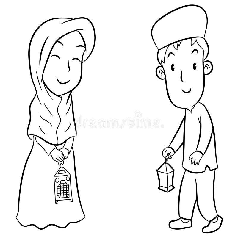 Hand drawn of Muslim Kids with Eid lanterns vector illustration