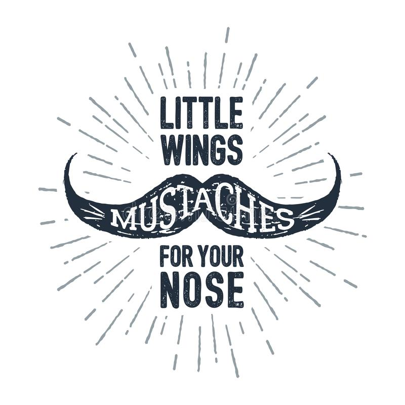 Hand drawn mustache textured vector illustration. royalty free illustration