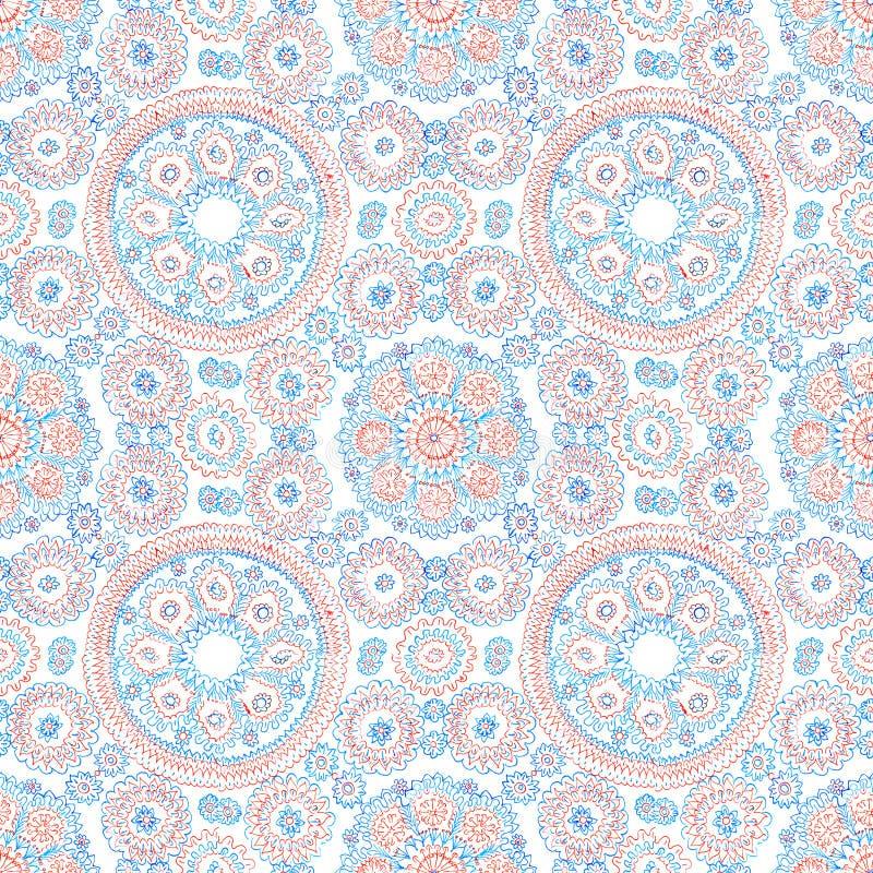 Hand-drawn naadloos patroon Blauwe en rode inkt die op Witboek trekken royalty-vrije illustratie