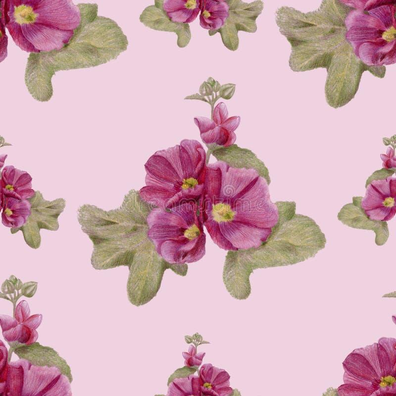 Hand-drawn naadloos patroon met malvebloemen vector illustratie