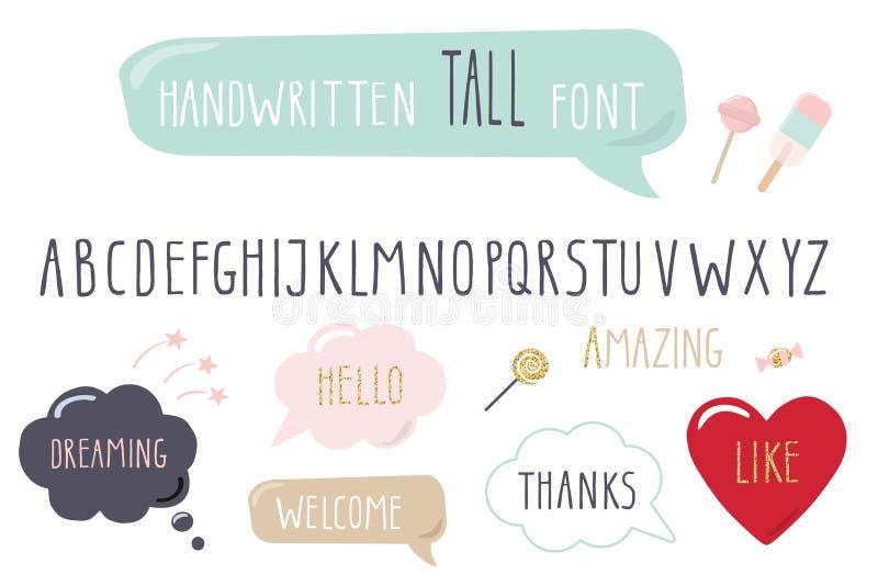 Hand drawn narrow font. Tall alphabet. Doodle. royalty free illustration