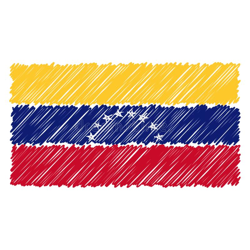 Hand Drawn National Flag Of Venezuela Isolated On A White Background. Vector Sketch Style Illustration. royalty free illustration