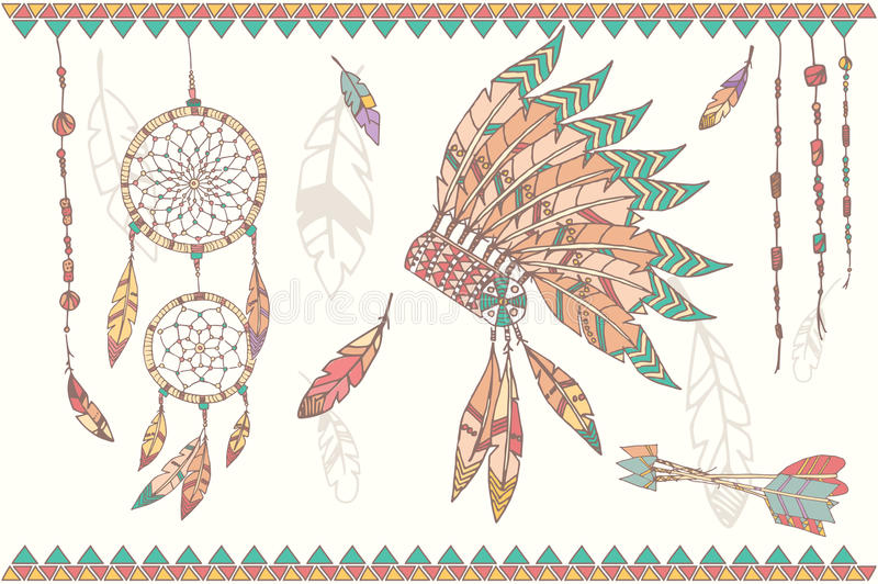Hand drawn native american dream catcher, beads and feathers. Hand drawn native american dream catcher, indian chief headdress, feathers, beads and arrows stock illustration