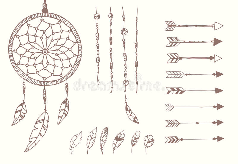 Hand drawn native american feathers, dream catcher, beads and arrows. Vector illustration royalty free illustration