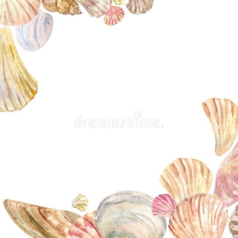 Watercolor shell corner border frame stock illustration