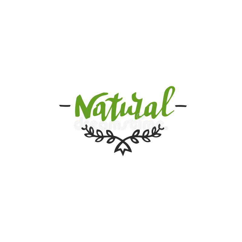 Hand drawn Natural lettering. Vector organic design template. royalty free stock photos
