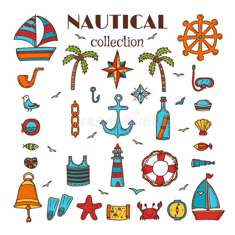 Hand drawn nautical collection. Sea and ocean. Marine icon set. Nautical elements. Vector illustration royalty free illustration