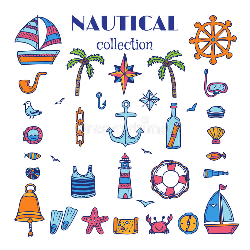 Hand drawn nautical collection. Sea and ocean. Marine icon set. Vector illustration stock illustration