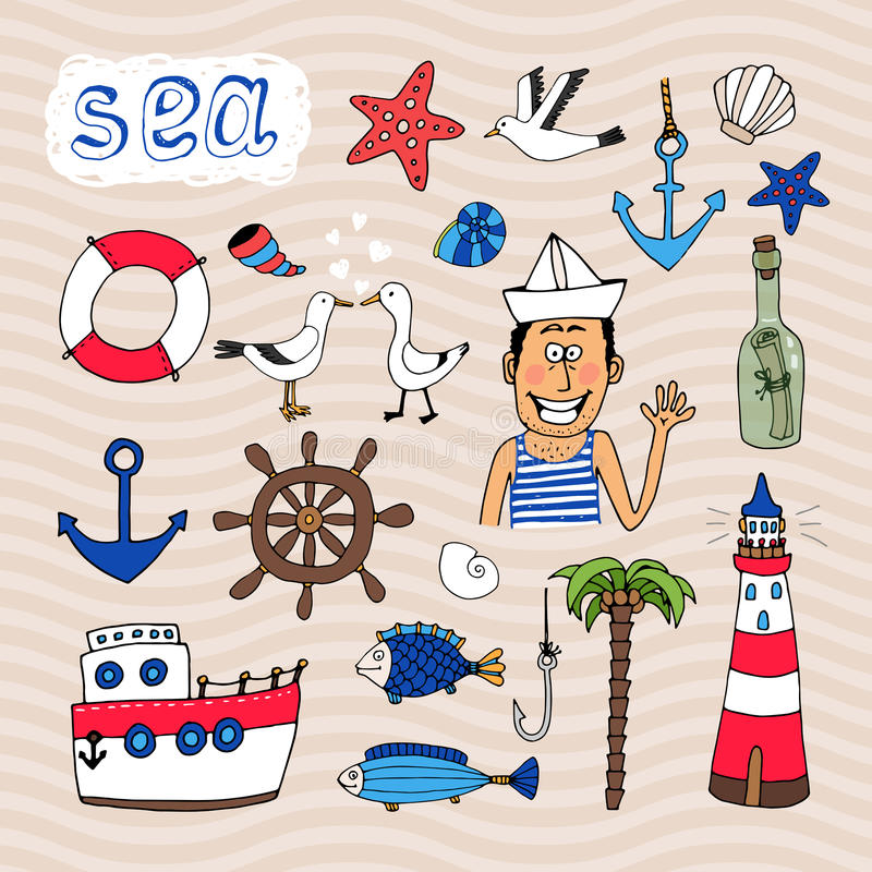 Hand drawn Nautical Elements vector illustration