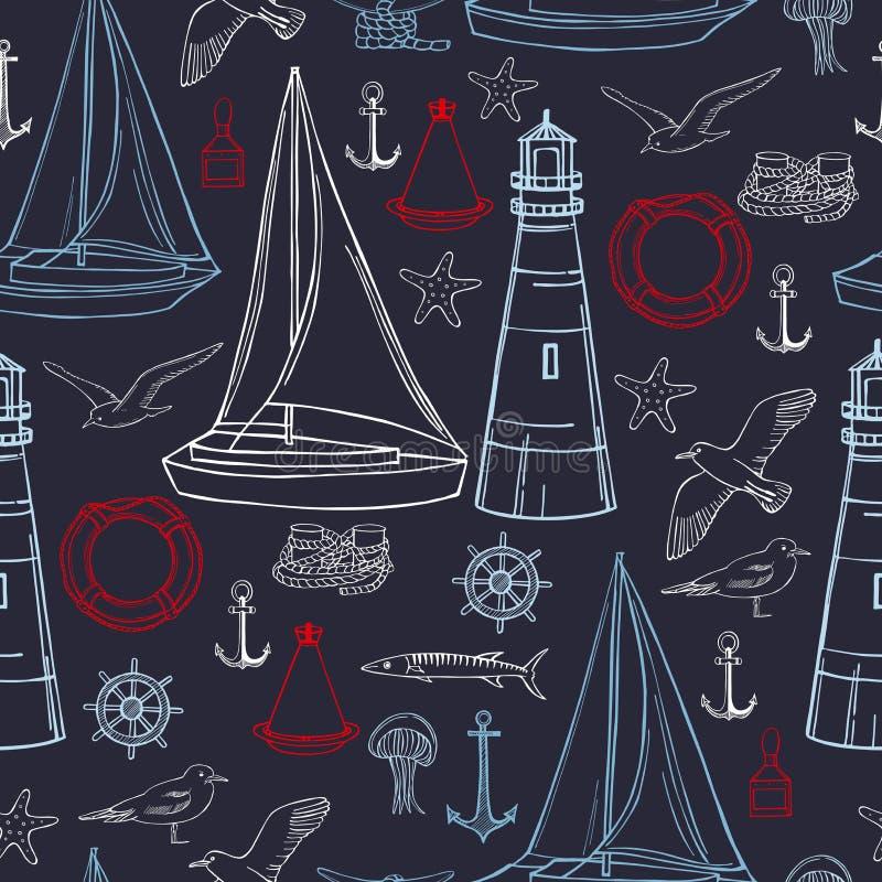 Hand drawn nautical icon set. Vector   pattern. Hand drawn nautical icon set on dark blue background. Vector  pattern stock illustration