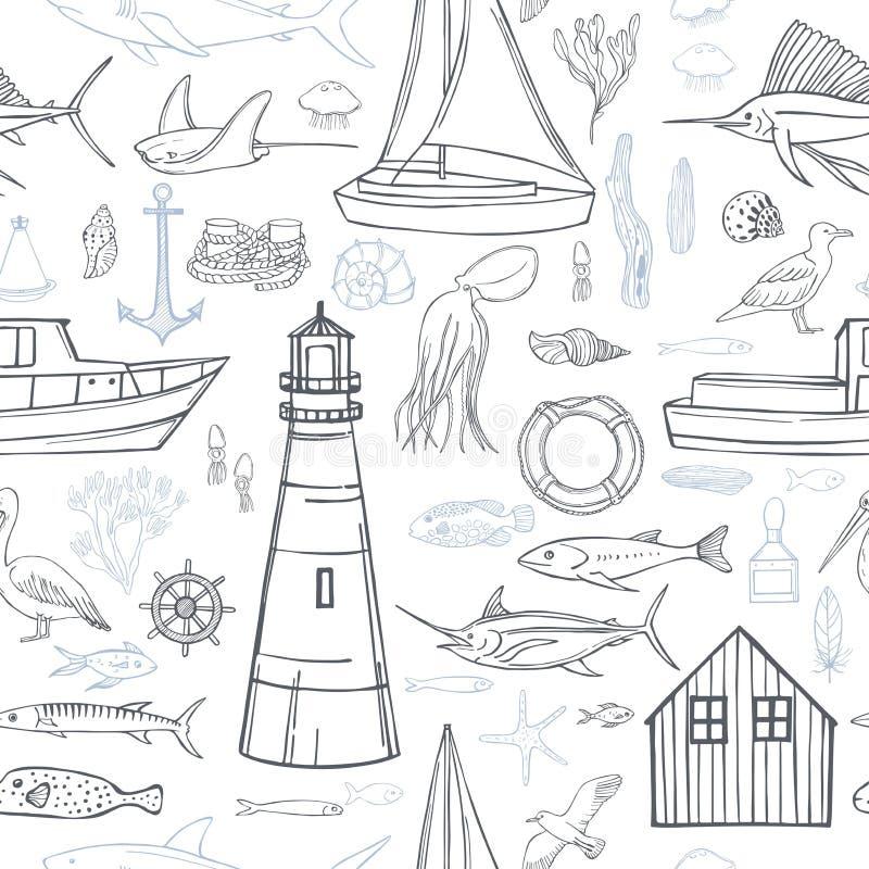 Hand drawn nautical icon set. Vector  pattern. Hand drawn nautical icon set on white background.  Vector  seamless pattern vector illustration