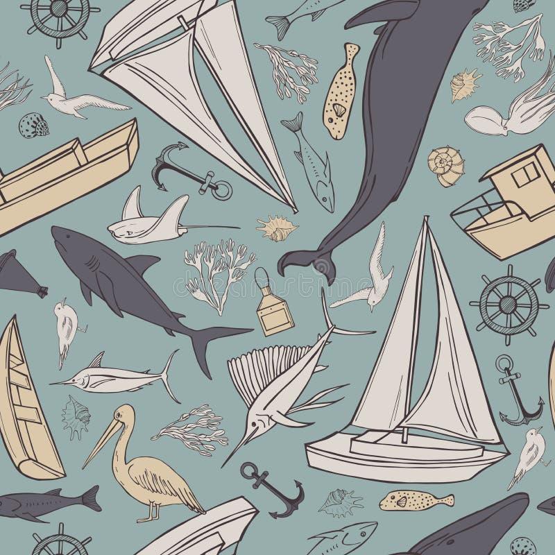 Hand drawn nautical icon set. Vector   pattern. Hand drawn nautical icon set on blue background.  Vector  seamless pattern vector illustration