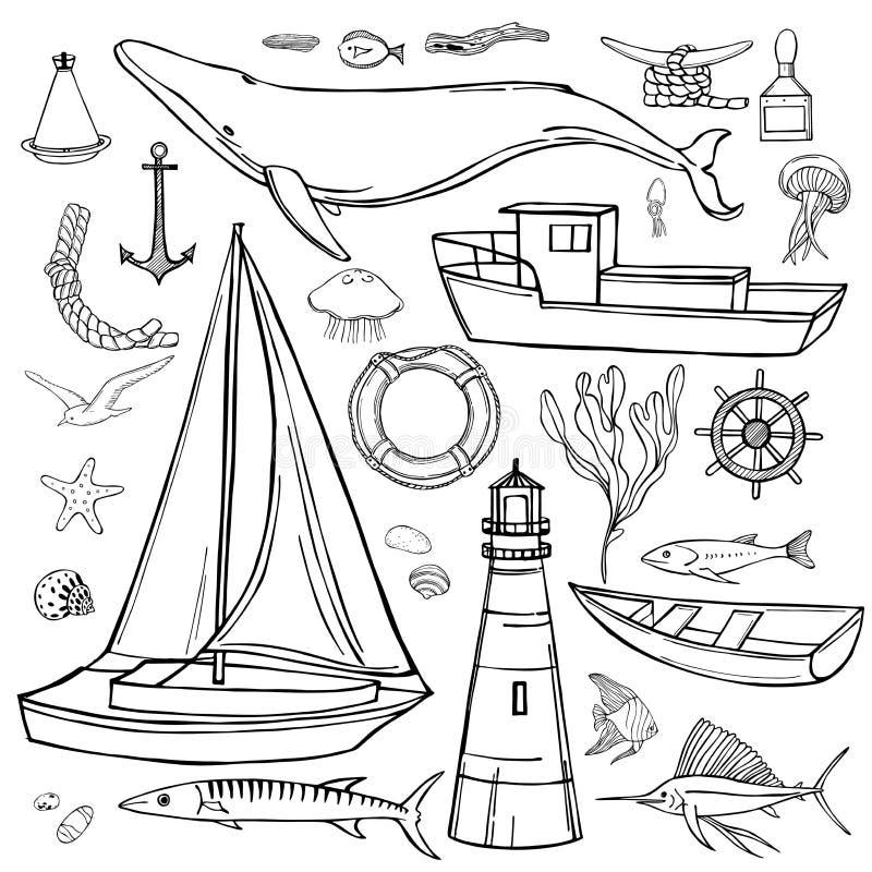 Hand drawn nautical icon set. Hand drawn nautical icon set on white background. Vector sketch  illustration stock illustration