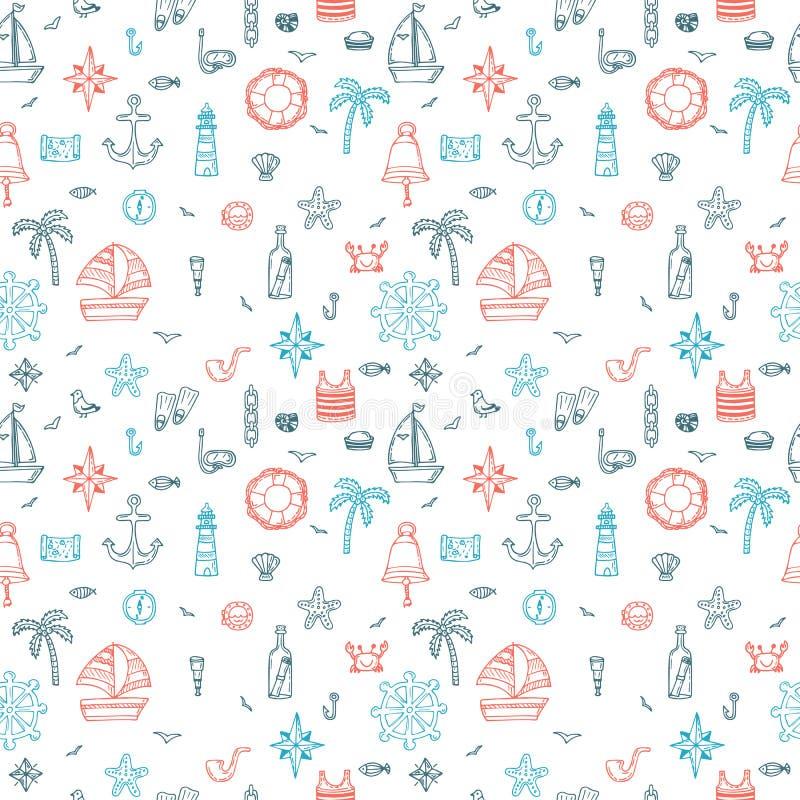 Hand drawn nautical seamless pattern of marine symbols. Cartoon. Marine icons. Vector illustration stock illustration