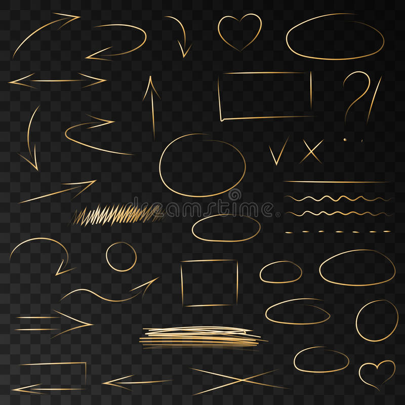 Hand drawn neon golden arrows, circles and highlighter lin. Hand drawn neon golden arrows, doodle circles and highlighter brush lines. vector highlight gold stock illustration