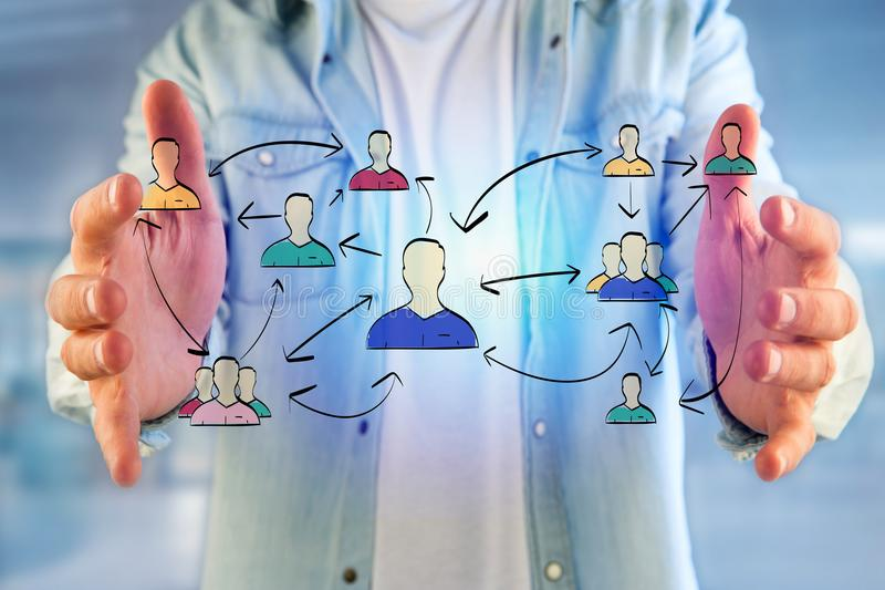 Hand drawn network interaction with different group of people on. View of a Hand drawn network interaction with different group of people on a futuristic royalty free stock photo