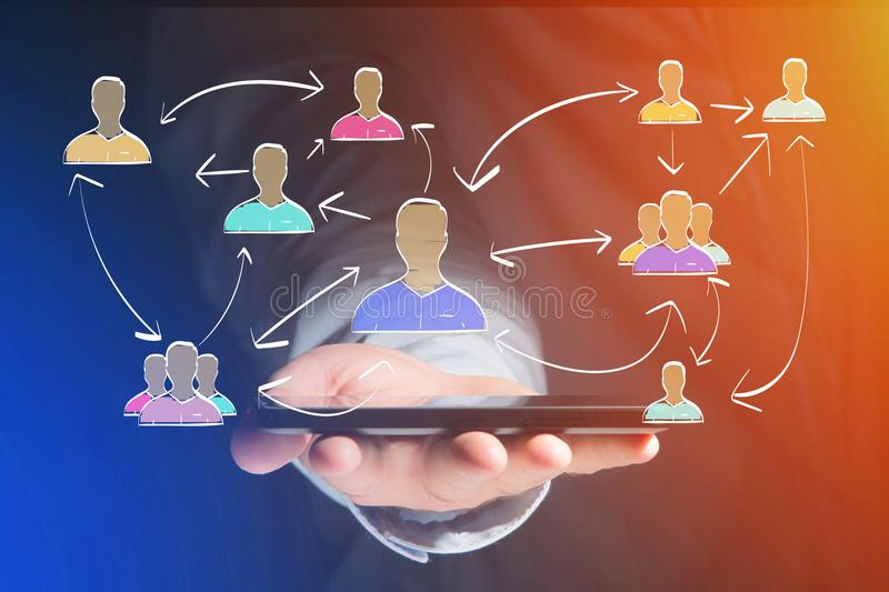 Hand drawn network interaction with different group of people on. View of a Hand drawn network interaction with different group of people on a futuristic stock photography