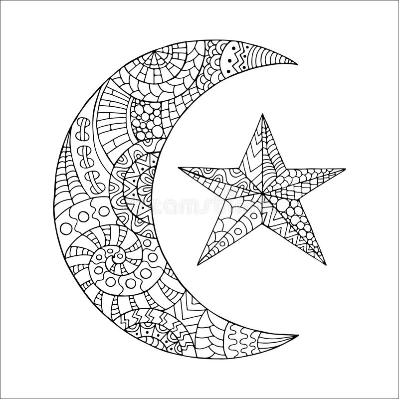 Hand drawn new moon and star for anti stress colouring page. Pattern for coloring book. Made by trace from sketch. Illustration in zentangle style. Monochrome royalty free illustration