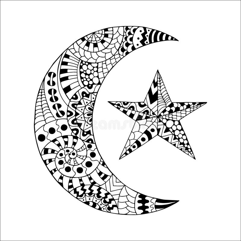 Hand drawn new moon and star for anti stress colouring page. Pattern for coloring book. Made by trace from sketch. Illustration in zentangle style. Monochrome vector illustration
