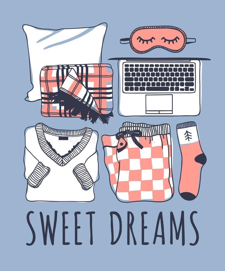 Hand drawn night fashion illustration. Creative ink art work. Actual drawing. Cozy set, plaid, mask, laptop, pajamas, sock. Hand drawn night fashion illustration royalty free illustration