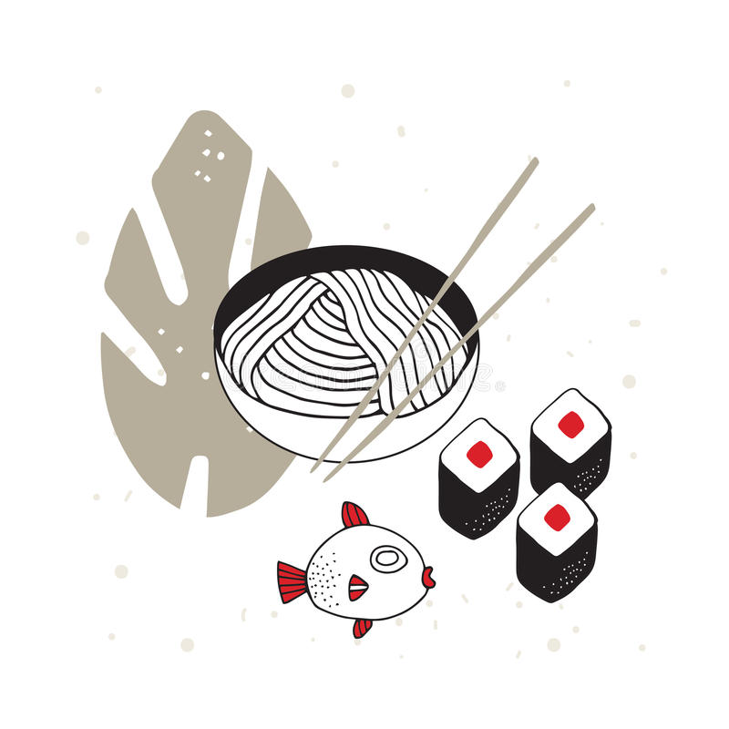 Hand drawn noodles bowl with chopsticks Sushi Fish Asian cuisine. Vector illustration royalty free illustration