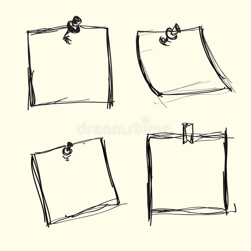 Download Hand drawn note papers stock vector. Image of note, notepad - 25808686