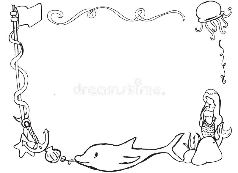 Hand drawn ocean themed border frame. Hand drawing of animals, a mermaid and things found in an ocean to put your text, message or picture royalty free illustration