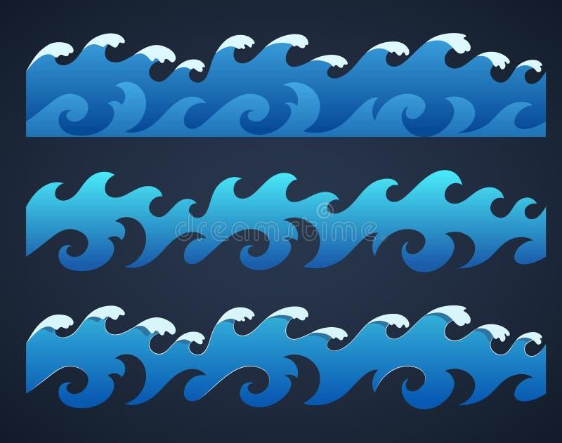 Hand drawn ocean waves endless border vector illustration