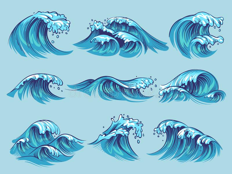 Hand drawn ocean waves. Sketch sea tidal blue waves tide splash hand drawn surfing storm wavy water doodle vintage set stock illustration